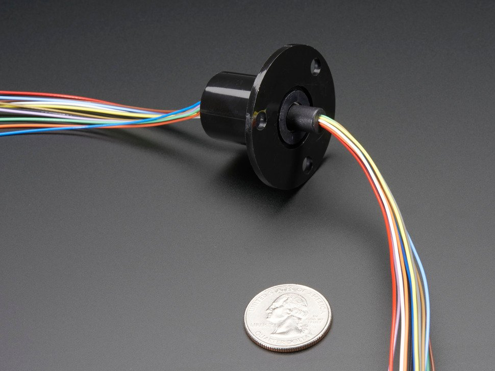 Slip Ring with Flange - 22mm diameter, 12 wires, max 240V @ 2A