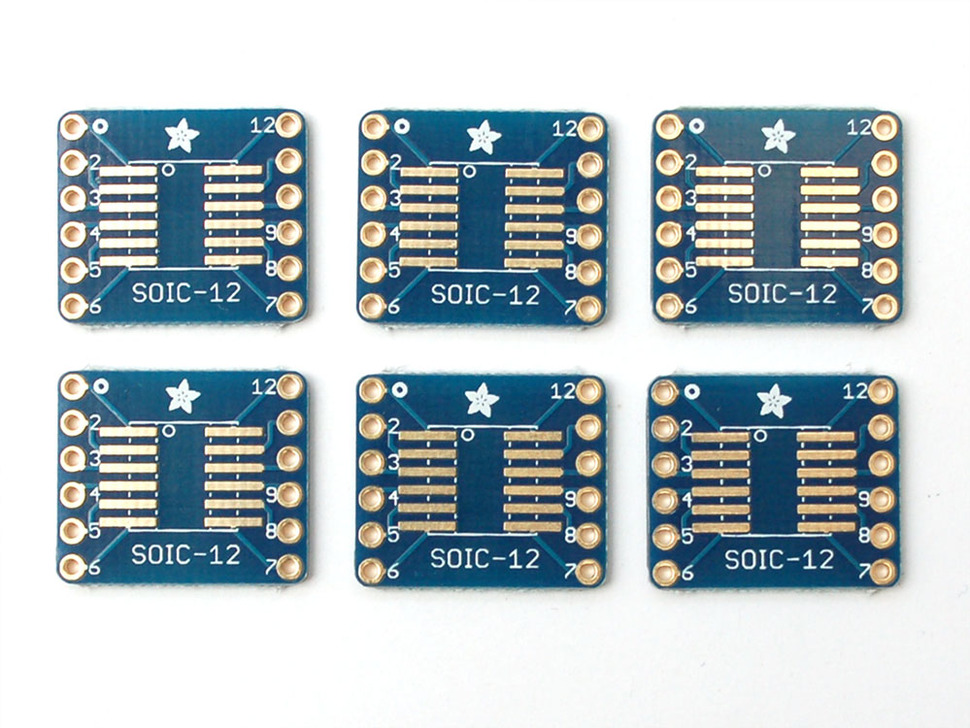SMT Breakout PCB for SOIC-12 or TSSOP-12 - 6 Pack!