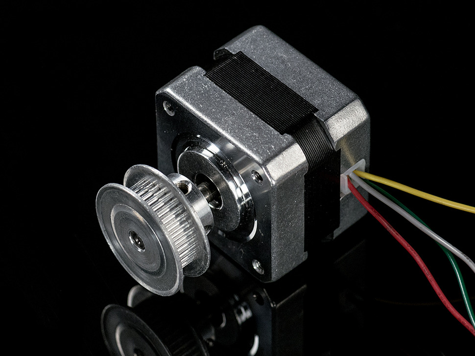 Timing Pulley installed on stepper motor