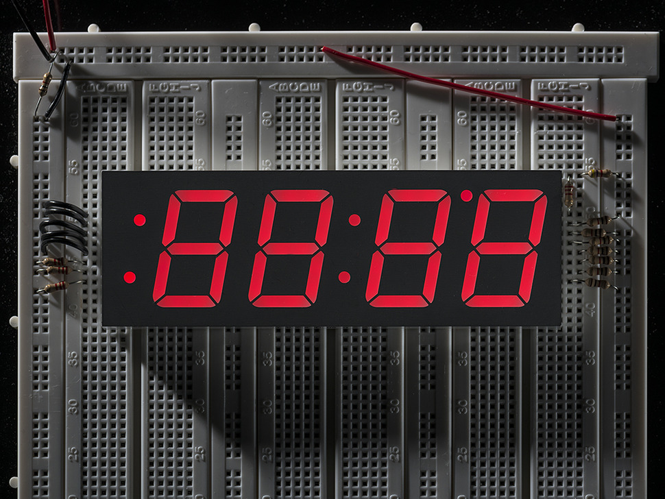 Red 7-segment clock display - 1.2