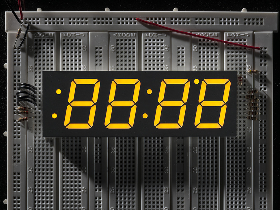 Yellow 7-segment clock display - 1.2