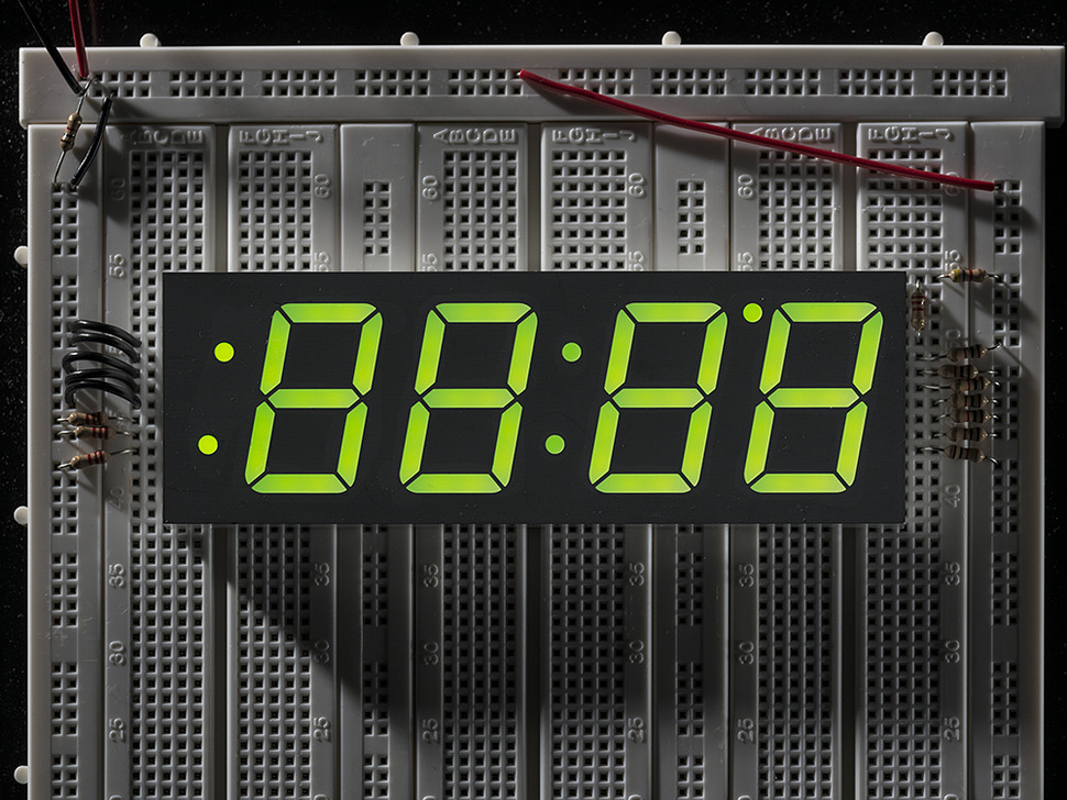 "Green 7-segment clock display - 1.2"" digit height"