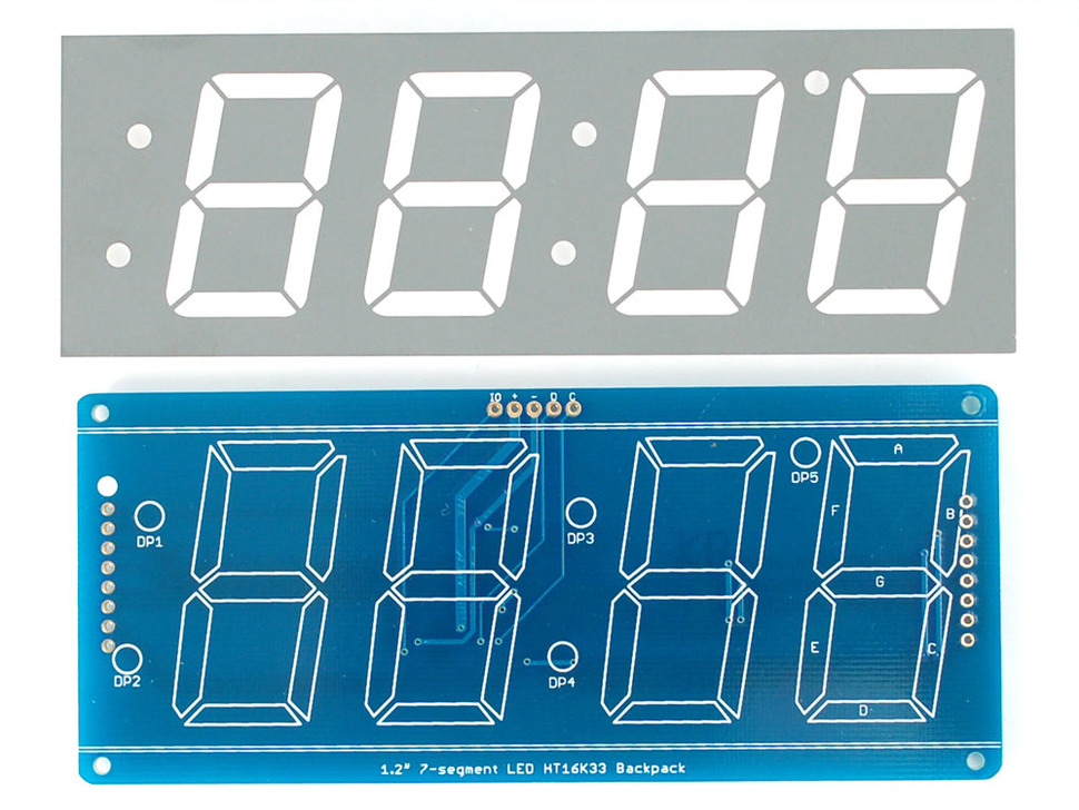 "Adafruit 1.2"" 4-Digit 7-Segment Display w/I2C Backpack - Green"