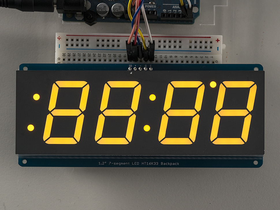 "Adafruit 1.2"" 4-Digit 7-Segment Display w/I2C Backpack - Yellow"