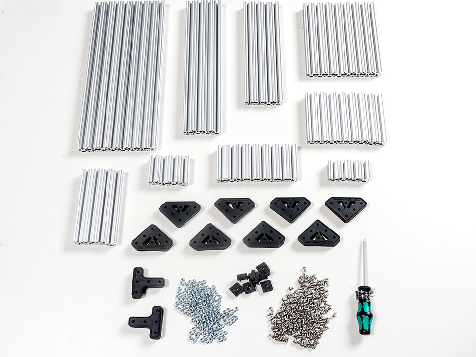 OpenBeam Advanced Precut Kit - Silver Aluminum Beams and many connector plates and parts