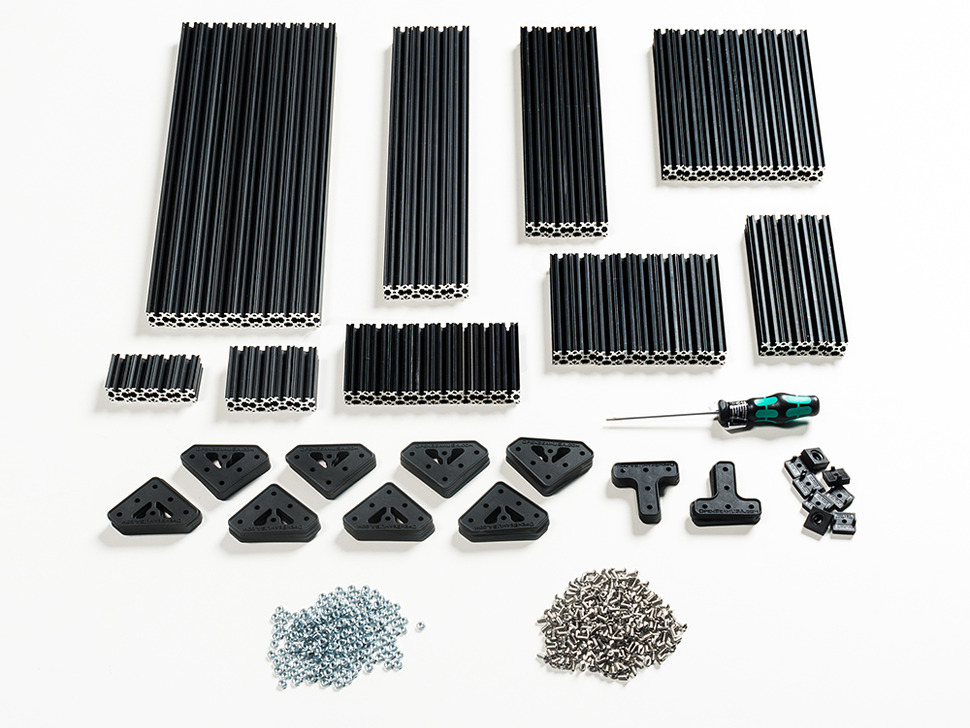 OpenBeam Advanced Precut Kit - Black Aluminum Beams and many connector plates and parts