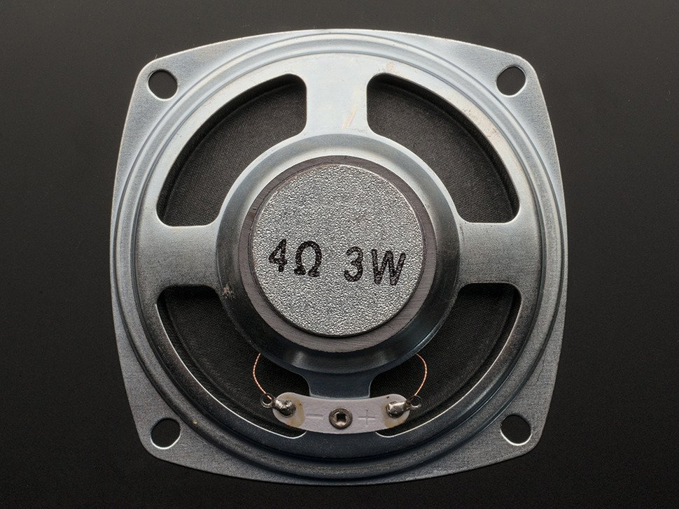 """Back view of the Speaker with """"4 Ohm 3 Watt"""" labeled on back"""