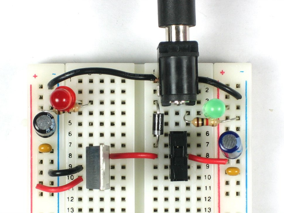 Top down image of wired up power supply circuit on breadboard