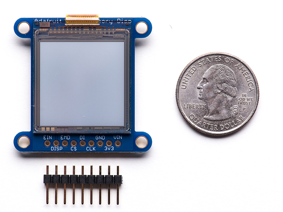 SHARP Memory Display Breakout next to quarter