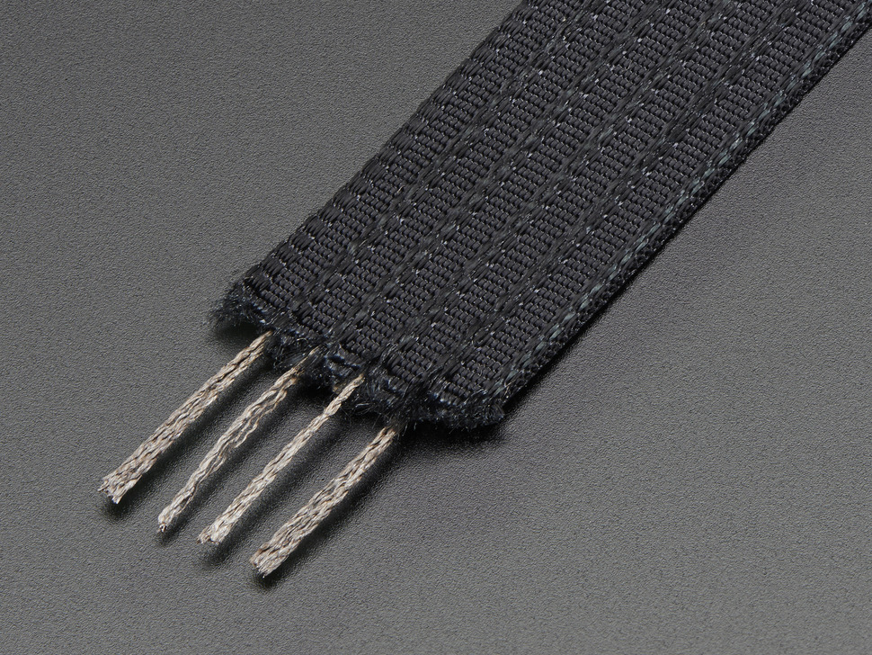 Conductive thread ribbon cable - Black - 1 yard