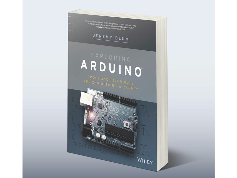 """Angled shot of front cover of """"Exploring Arduino Tools and Techniques for Engineer Wizardry"""" by Jeremy Blum."""