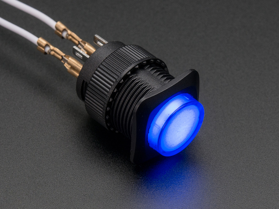 16mm Illuminated Pushbutton - Blue Latching On/Off Switch