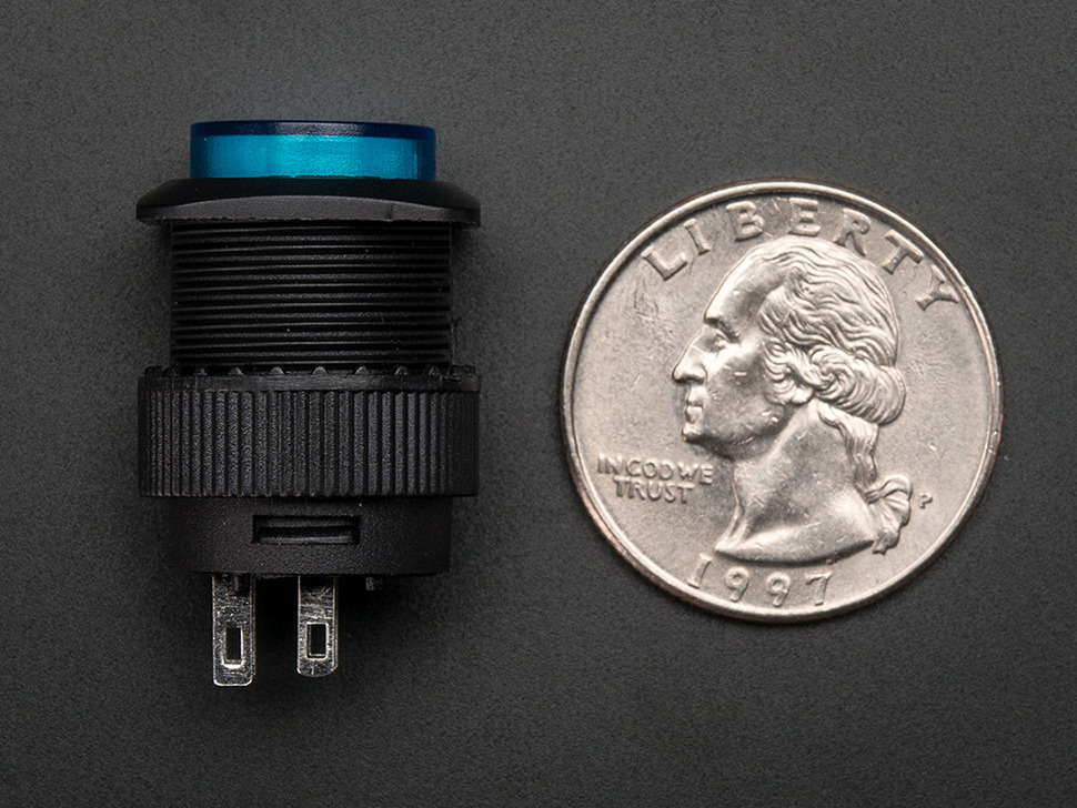 16mm Illuminated Pushbutton - Blue Momentary