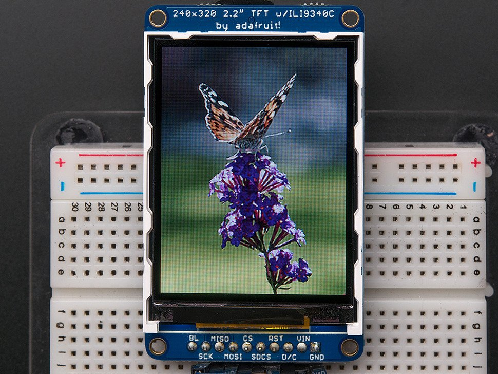 "2.2"" 18-bit color TFT LCD display with microSD card breakout"