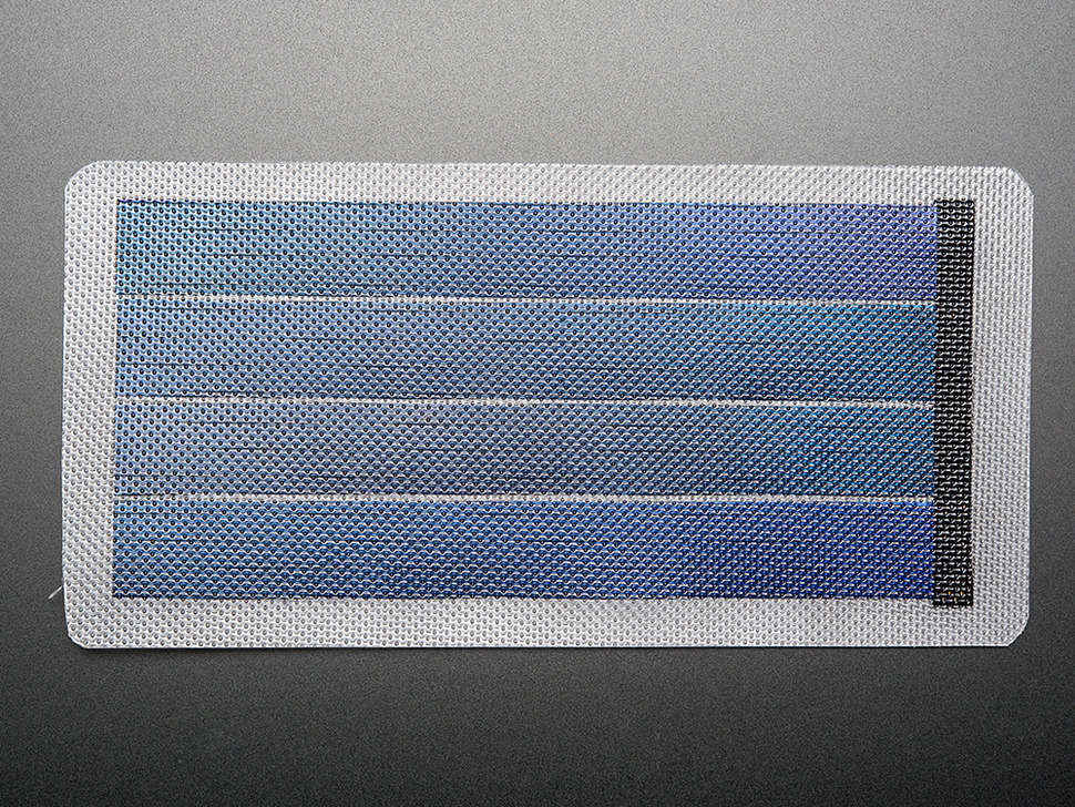 Top down of flexible panel with four cells visible