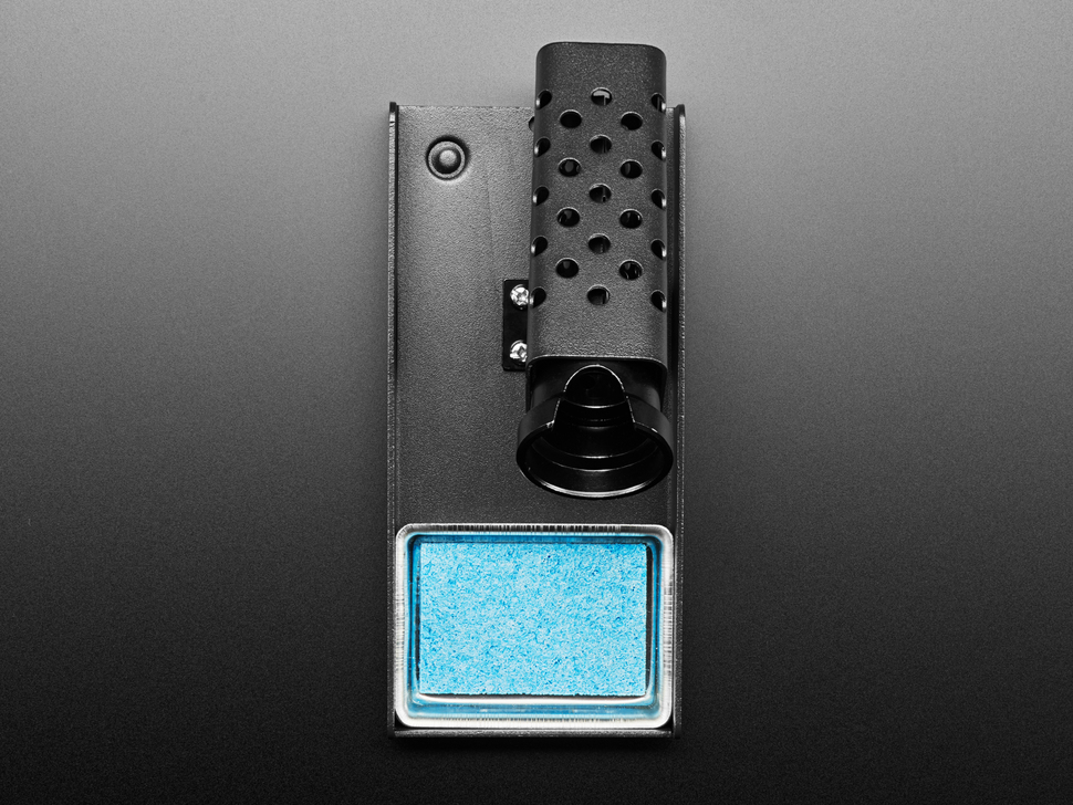 Top shot of Metal Soldering iron stand with blue sponge