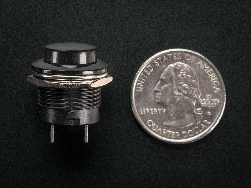 16mm Panel Mount Momentary Pushbutton -  Black