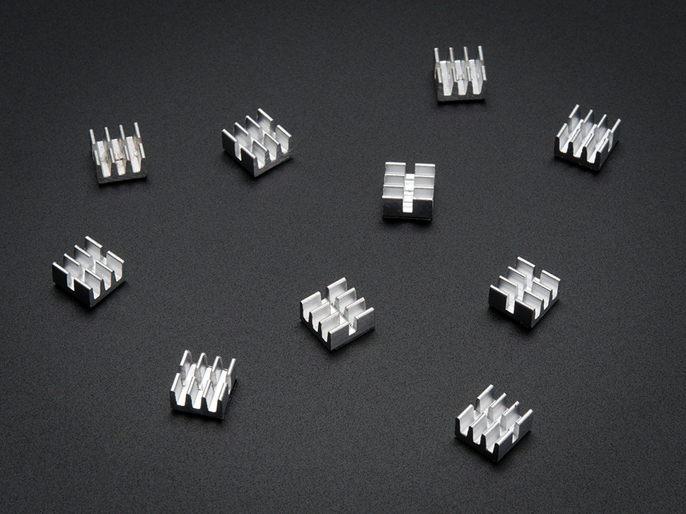 "Aluminum SMT Heat Sinks 10 Pack - 0.25""x0.25"" x 0.15"" tall"
