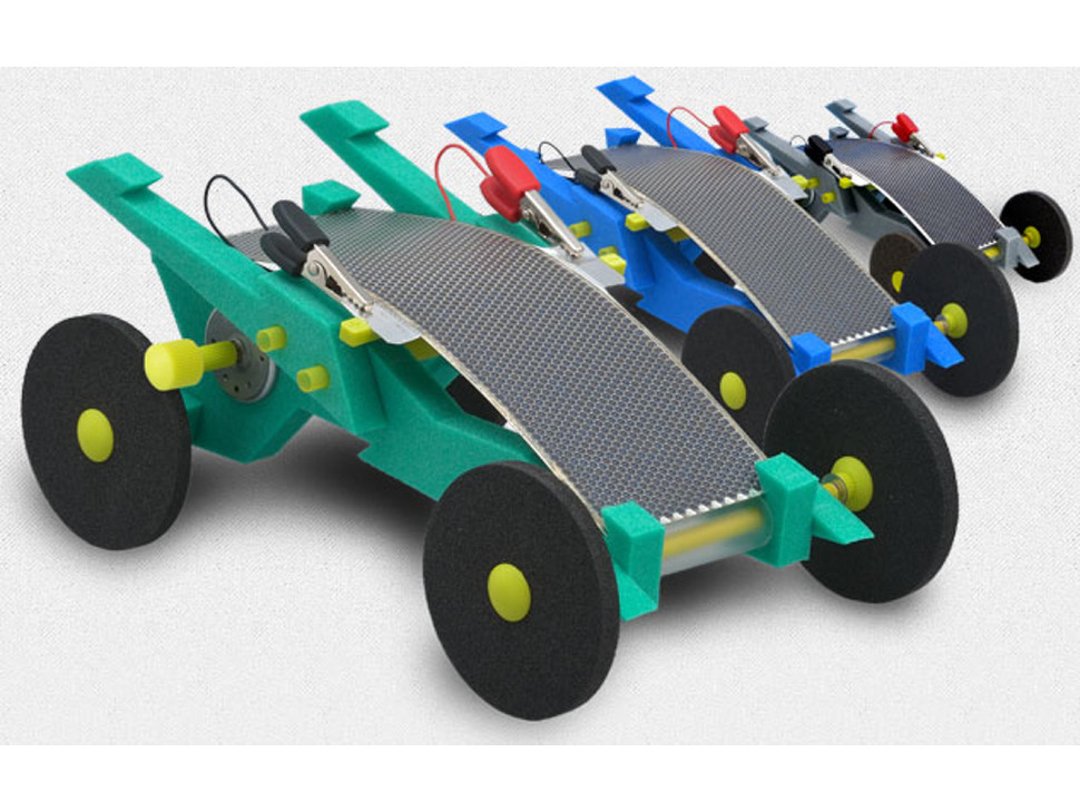 Many solar racers in different colors, lined up