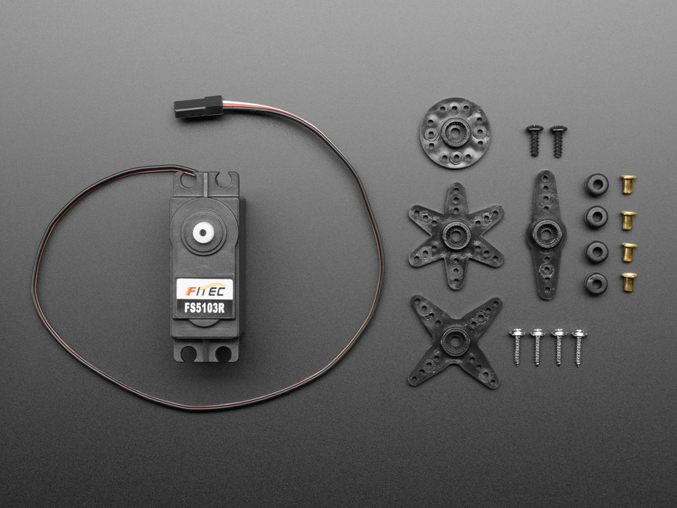 Continuous Rotation Servo with all included horns and mounting hardware