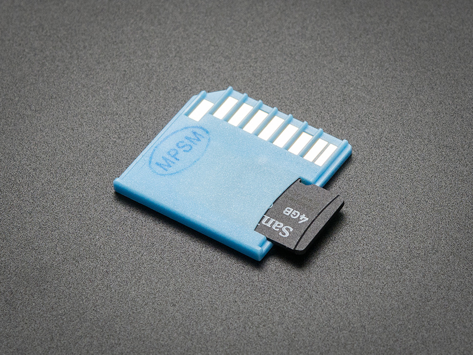 Blue Shortening microSD card adapter for Raspberry Pi & Macbooks