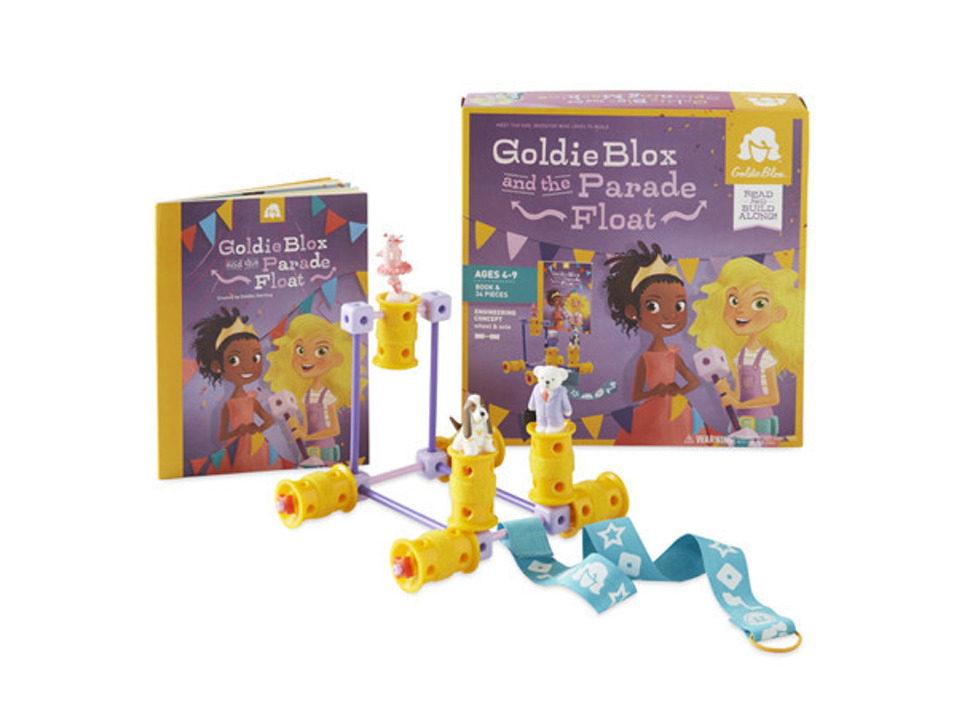 Goldie Blox and the Parade Float  assembled project in front of packaging