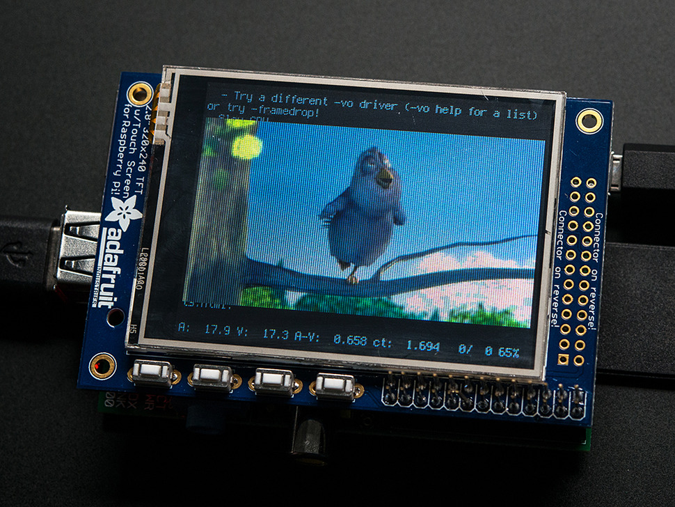 "Adafruit PiTFT - 320x240 2.8"" TFT+Touchscreen for Raspberry Pi"