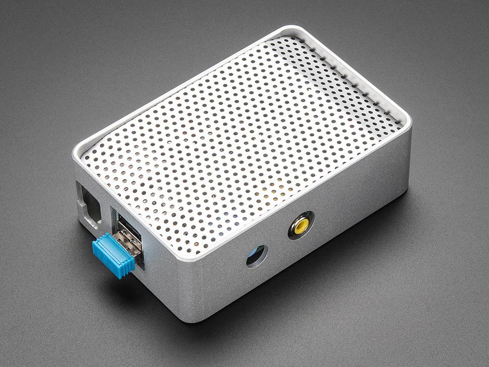 Angled shot of assembled aluminum case for Raspberry Pi Model B.