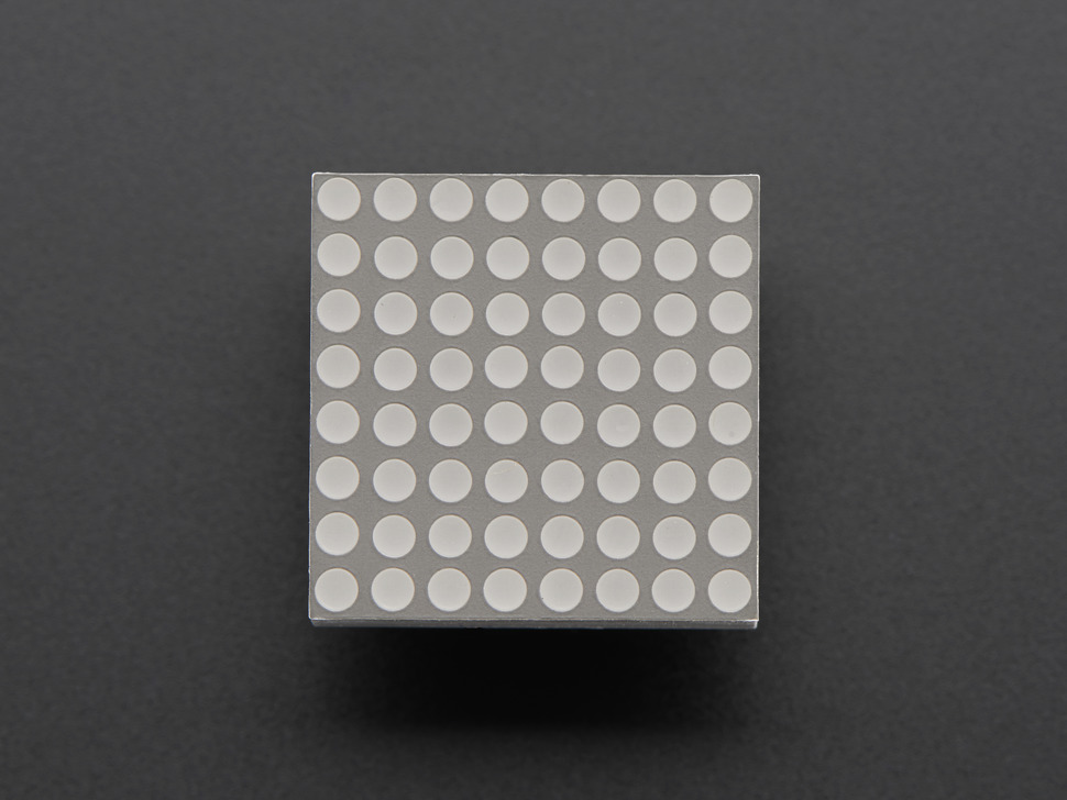 Miniature 8x8 Green Led Matrix. Top view. Powered off.
