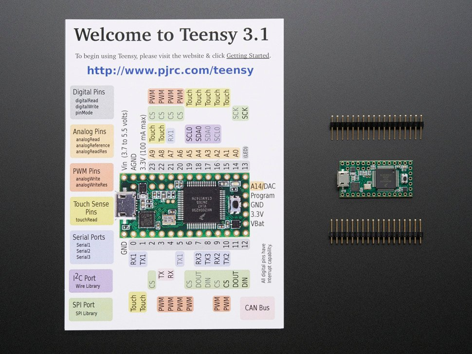 Teensy 3.1 with welcome pinout card and loose header
