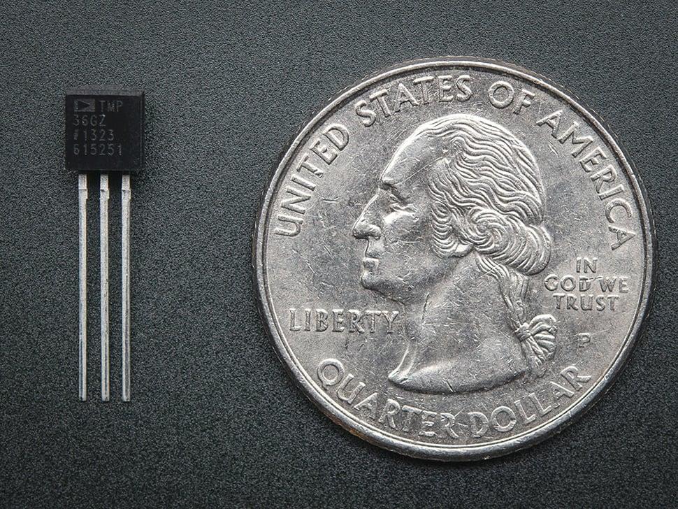 TMP36 Analog Temperature sensor next to quarter