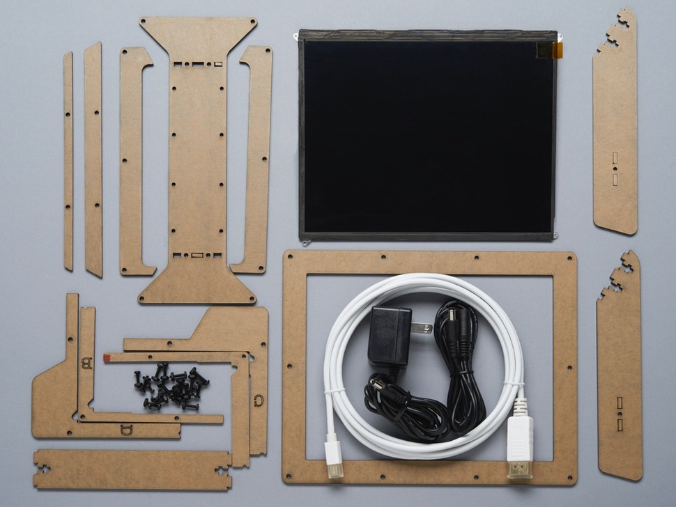 Kit contents showing enclosure, display and cables