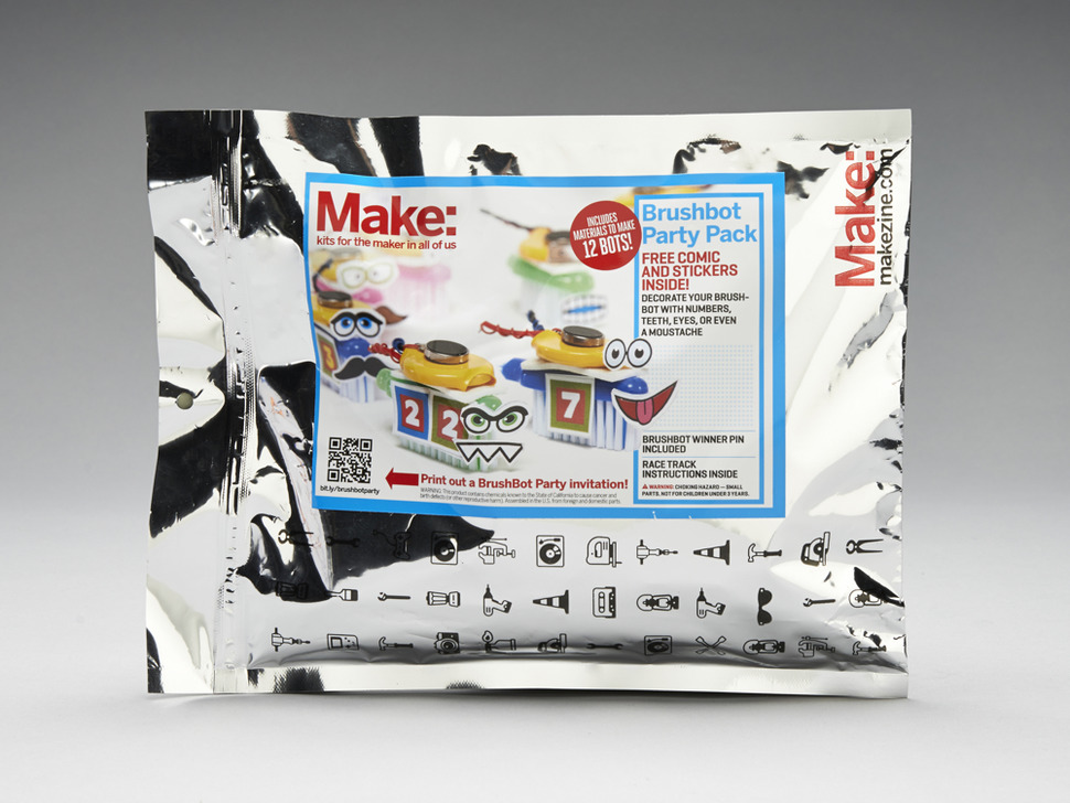 Silvery Outer packaging with cute brush-bots on label