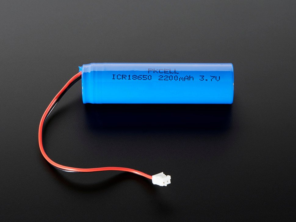 Lithium Ion Cylindrical Battery - 3.7v 2200mAh with JST PH connector