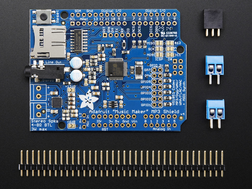 "Adafruit ""Music Maker"" MP3 Shield for Arduino w/3W Stereo Amp - v1.0"