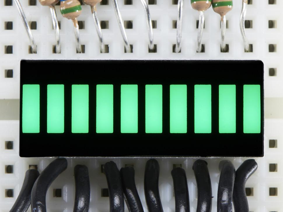 Green Lit up 10 Segment Light Bar Graph LED Display