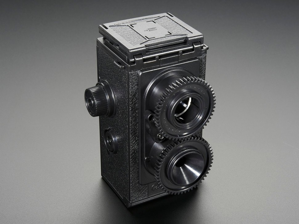 Angled shot of assembled 35mm Twin Lens Reflex Camera Kit.