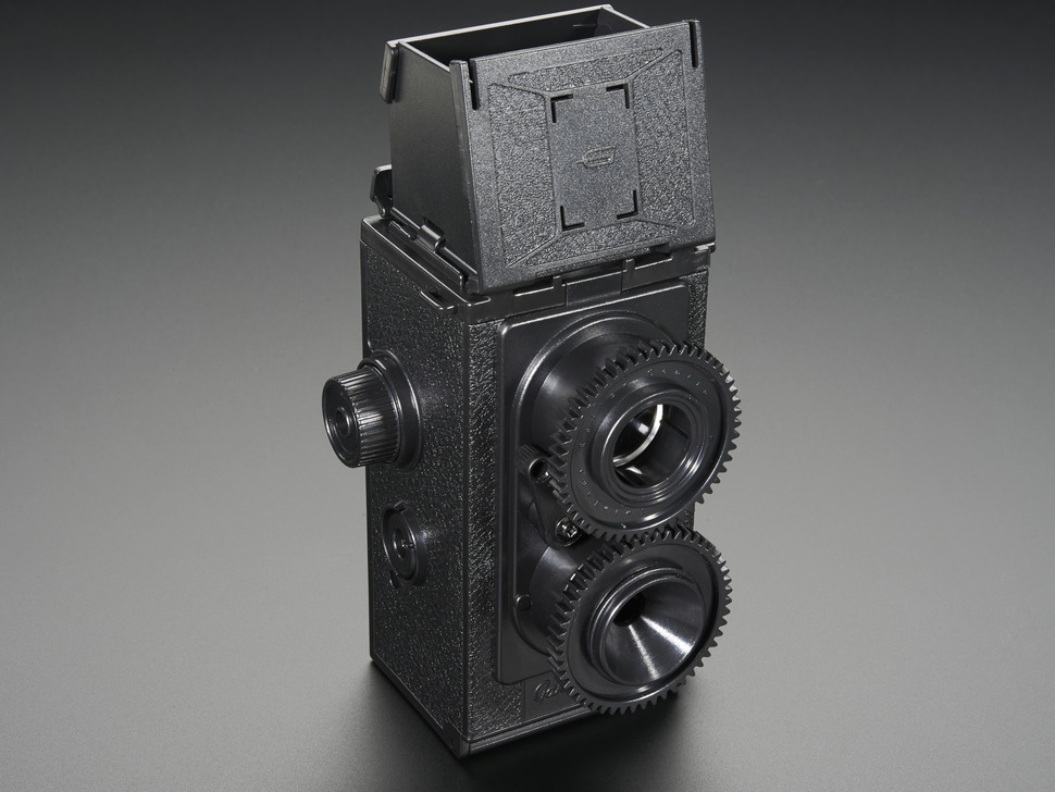 Additional shot of assembled 35mm Twin Lens Reflex Camera Kit with top opened.