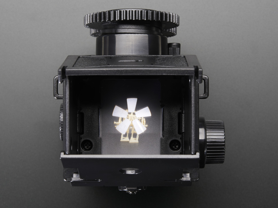 Top view of opened and assembled 35mm Twin Lens Reflex Camera Kit.