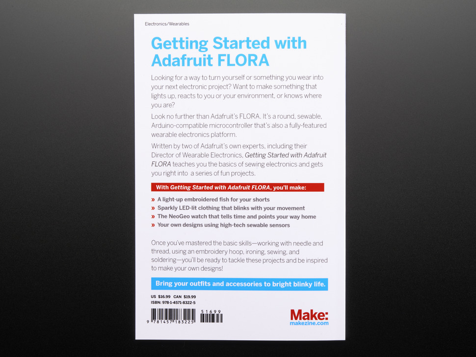 Back cover of Make: Getting Started with Adafruit FLORA.