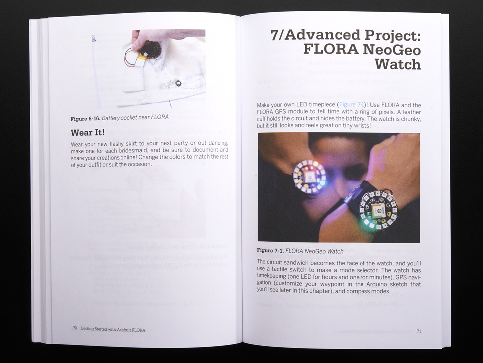 Opened book spread to chapter 7 advanced project: FLORA NeoGeo watch, a GPS module to tell time with a ring of pixels.