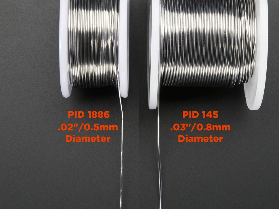 Comparison of two spools of wire thicknesses