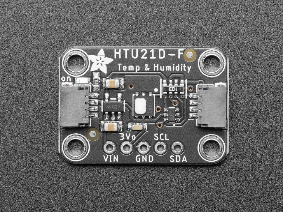 Top down of Adafruit HTU21D-F Temperature and Humidity Sensor Breakout Board