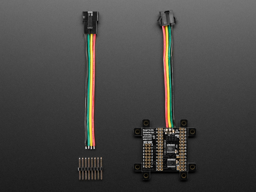 SmartMatrix SmartLED Shield with header piece and cable.