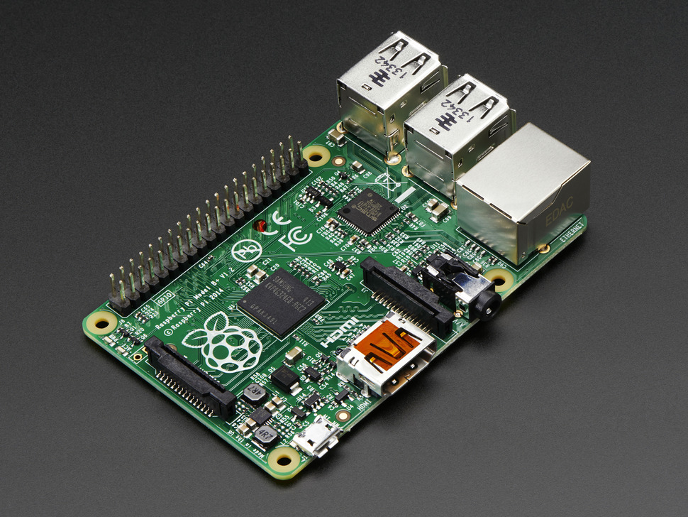 Angled shot of Raspberry Pi Model B+ 512MB RAM