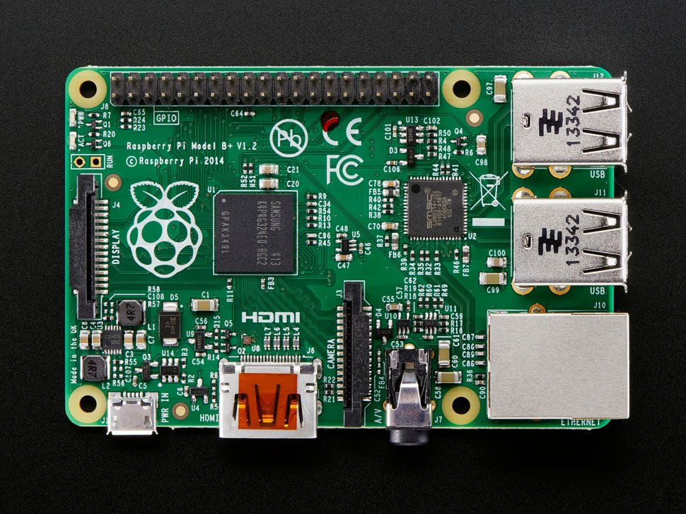 Top down of Raspberry Pi Model B+ 512MB RAM