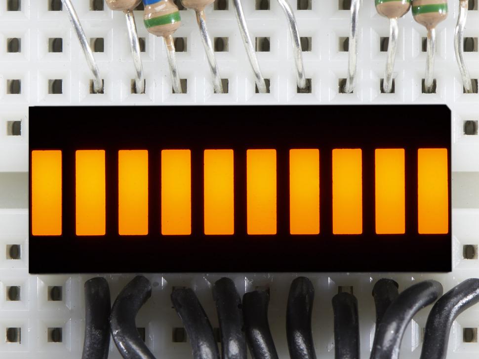 Yellow Lit up 10 Segment Light Bar Graph LED Display
