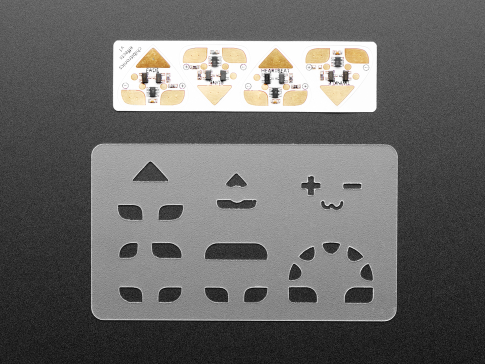 Pack of 4 LED stickers and a stencil