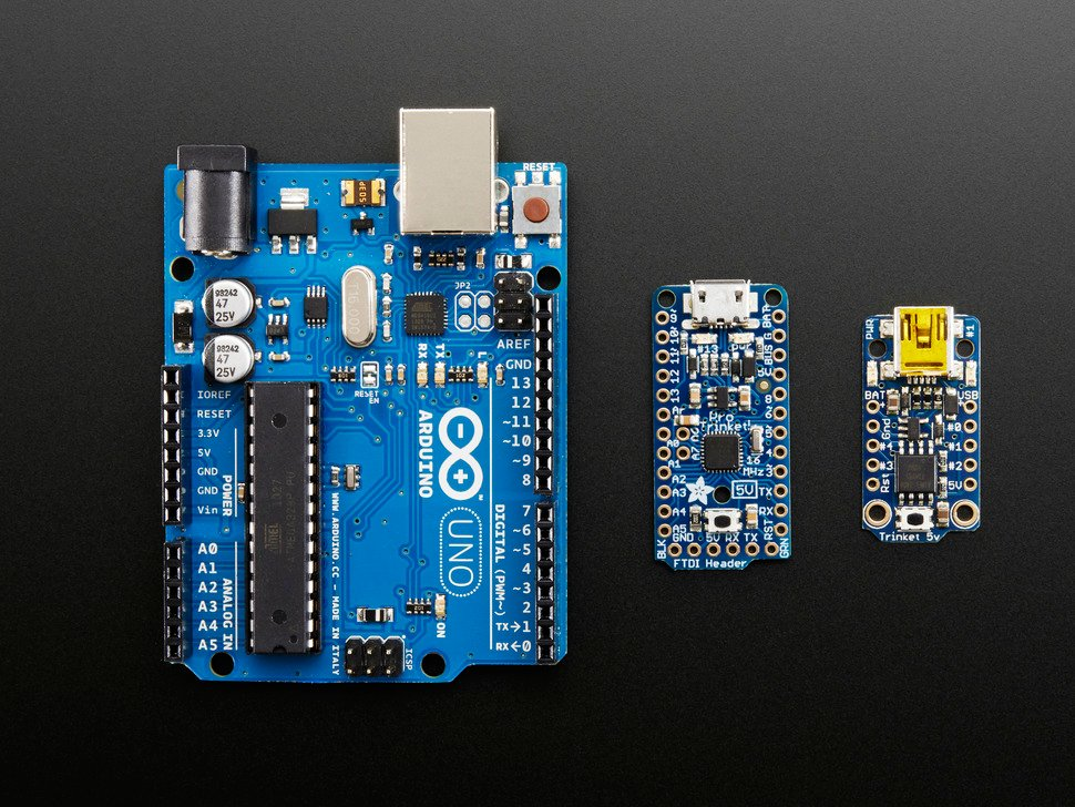 Size comparison of Arduino, Trinket and Pro Trinket