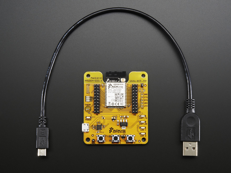 Top of breakout with USB cable